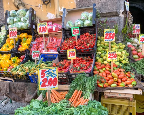 fruit and vegetable stand in Naples, Italy