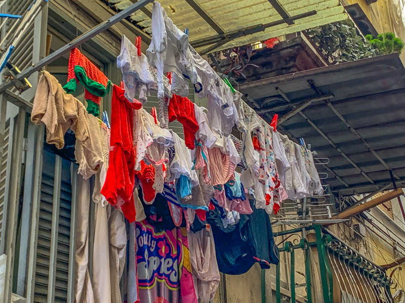 laundry hanging outside an apartment in Naples, Italy