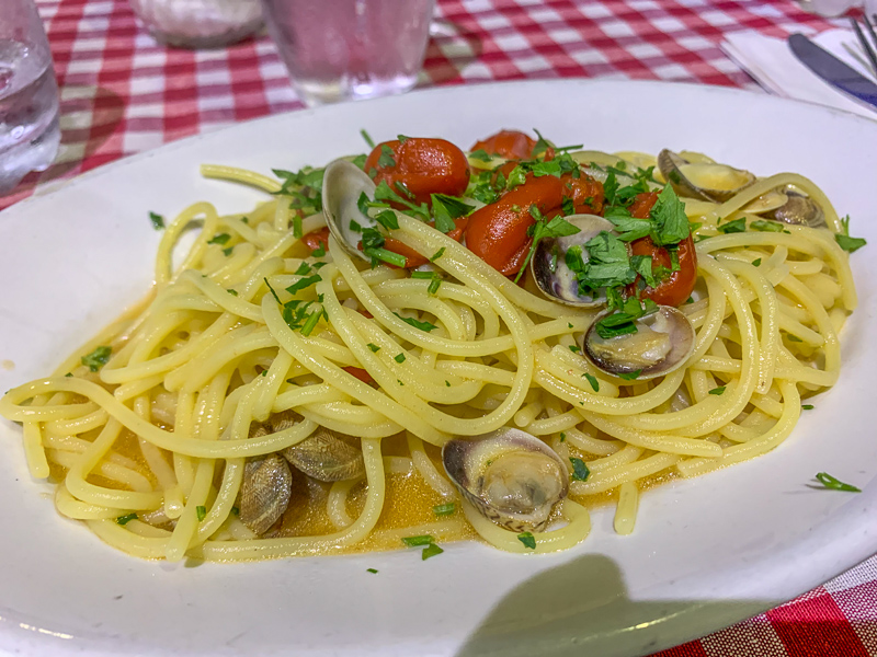 Food in Naples is delicious.  Here is a plate of spaghetti al vongole.