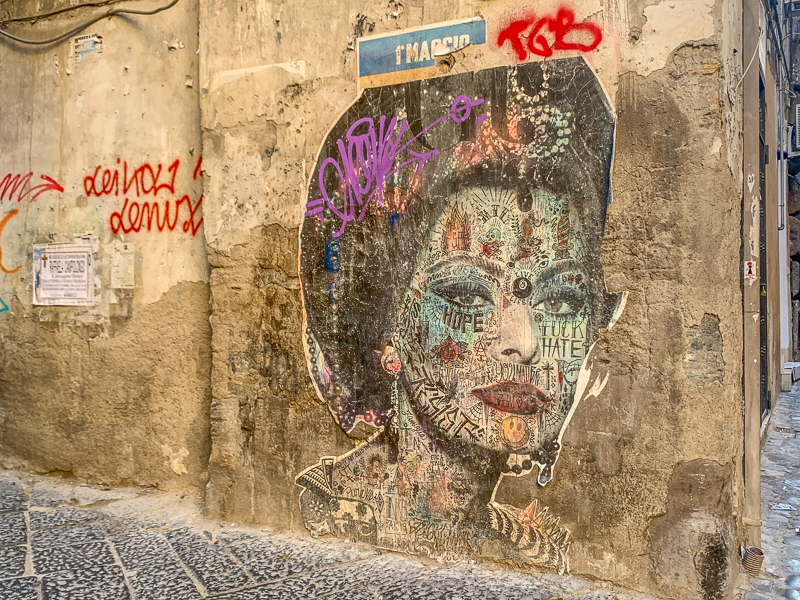 Street art in Naples, Italy.  Image of Sophia Loren.