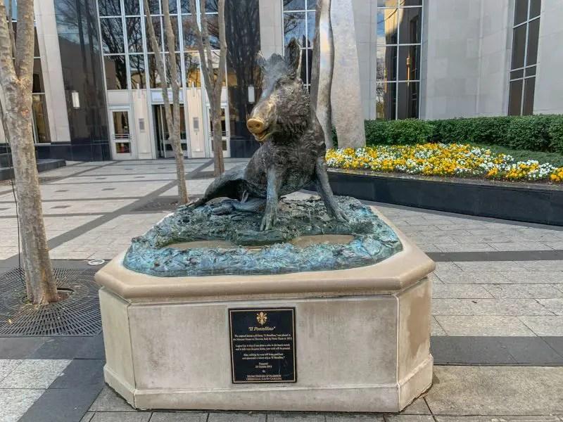 Bronze statue of a wild boar on Main Street in Greenville, SC.