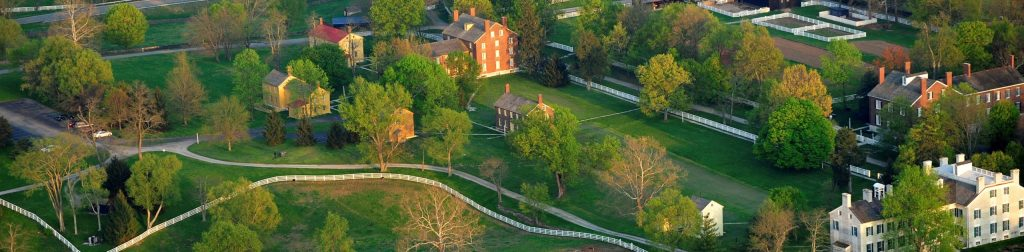 Aerial view of Shaker Village in Kentucky.  A visit to historic Shaker Village is one of the many things to do in Lexington.