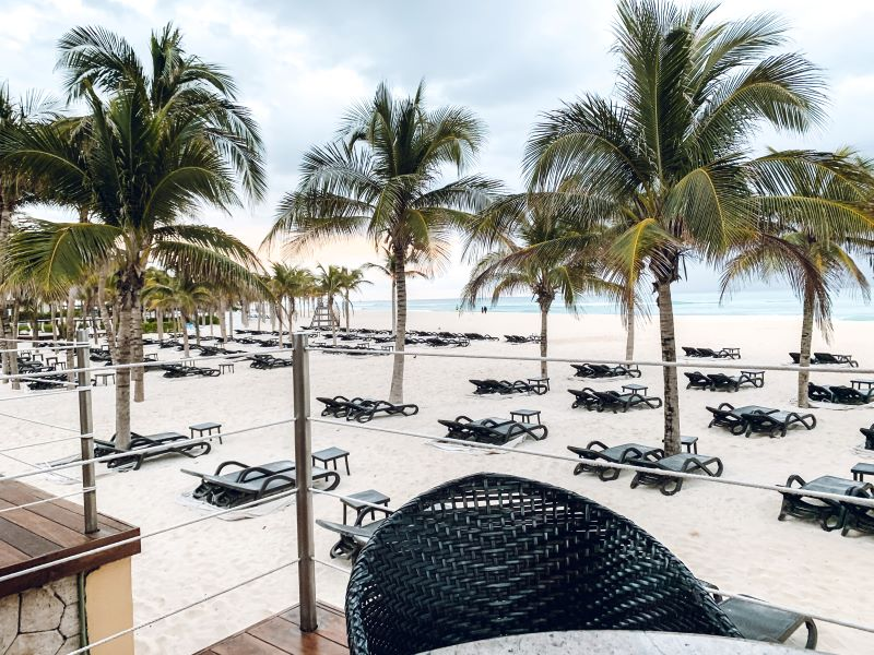 The white sand beach at the Royal Hideaway Playacar all-inclusive adults-only resort.
