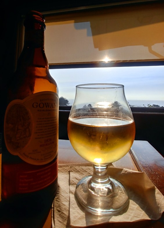Gowan's Apple Cider at sunset. Ole's Whale Watching Bar, Little River Inn, Little River California.