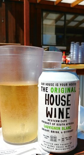 Canned House Wine from South Africa at Princess Seafood Market and Deli, Noyo Harbor, Fort Bragg California. Photo: Mary Charlebois