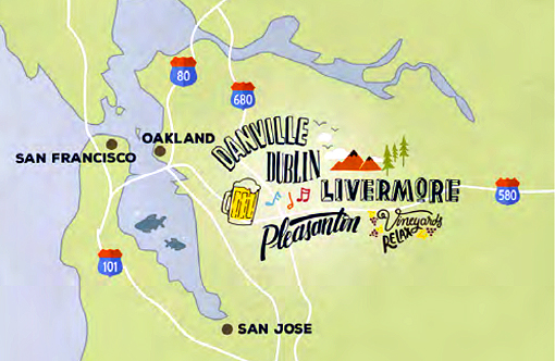 Map of Tri-Valley California - Pleasanton, Livermore, Dublin, and Danville.