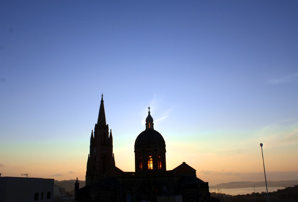 30-Days in Malta. Ghajnsielem Parrish Church at sunrise in Gozo. Photo: Charlebois