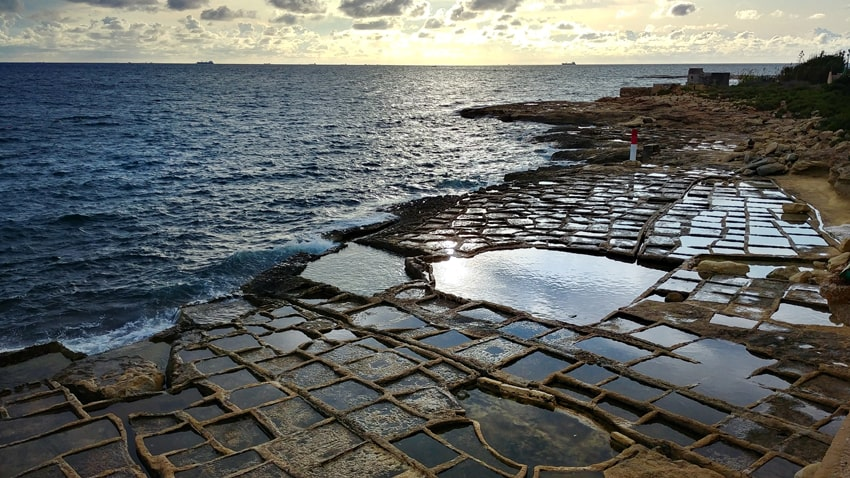 Marsaskala Harbor salt pans at sunrise