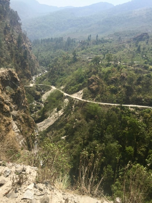The hairpinning mountain roads as you travel in Nepal
