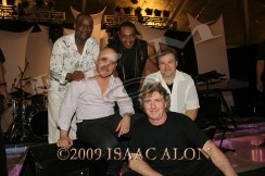 SPYRO GYRA, L-R & front - back: Jay Backenstein, Sax & Clarinet. Julio Fernandez, Guitar & Tom Schuman, Keyboard. Scott Ambush, Bass Guitar & Bonny B, Drums