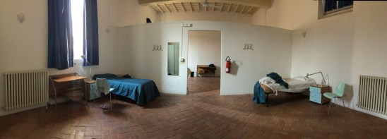 My hostel room, huge and spacious with very little furniture (4 beds)