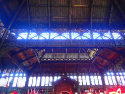 The market is an old train station that was built for a World Fair.