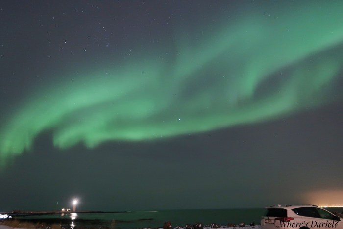northern lights at Grotta Lighthouse