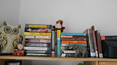 My TBR pile relocated to above my desk and now I'm scared they're going to fall on my face.