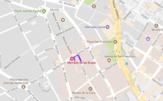 la paz bolivia witches market map