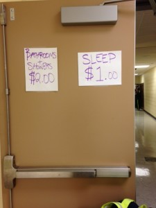 Bathroom showers and sleep for $3 at Ragnar ADK exchange 12