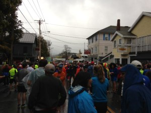 Runners lined up for the MDI Marathon start
