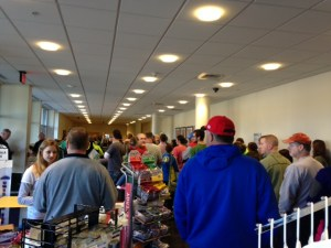 Long lines at the Marshall Marathon Expo