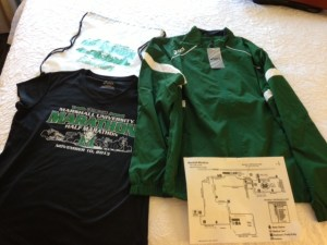 The re-usable bag, shirt, and jacket you get for the Marshall Marathon