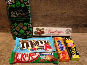 6 new candies - Divine Dark Chocolate with mint, Ohio Buckeyes, Birthday Cake M&Ms, KitKat Chunky Hazelnut Cream, Hi-Chew peach, something-something fruit chew candy