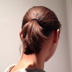 Bob haircut in ponytail