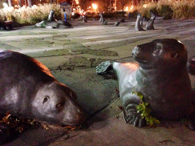 Seal statues along East River downtown NYC