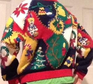 back of xmas ugly sweater