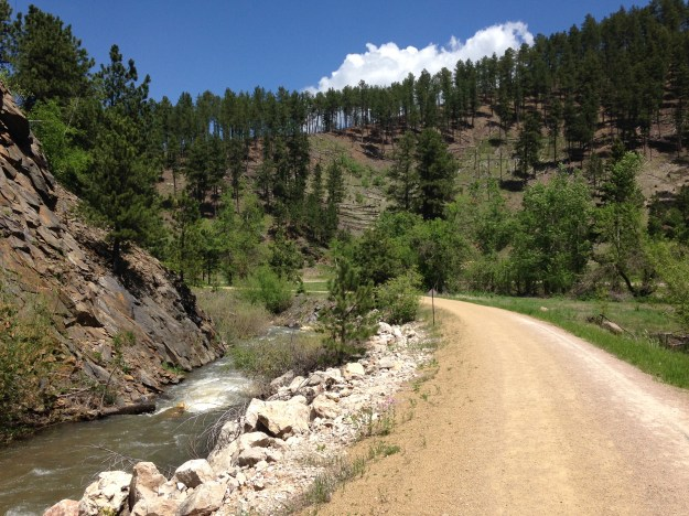 A couple miles to the finish of the Deadwood Mickelson Trail Marathon