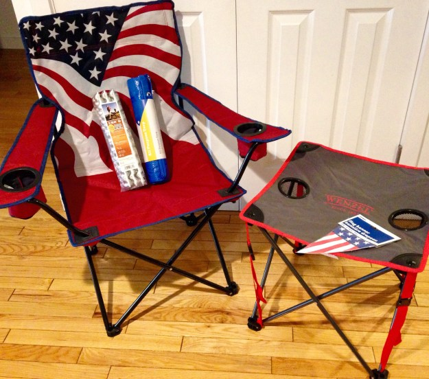 My patriotic folding chair (and table) for our American Gladiators-themed team!