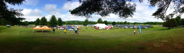 The campsite, mess tent, and parking lot at Ragnar Trail New England.  The Village is behind me.