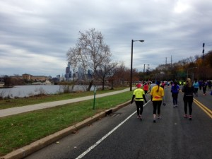 Heading back towards the city, just before mile 12.