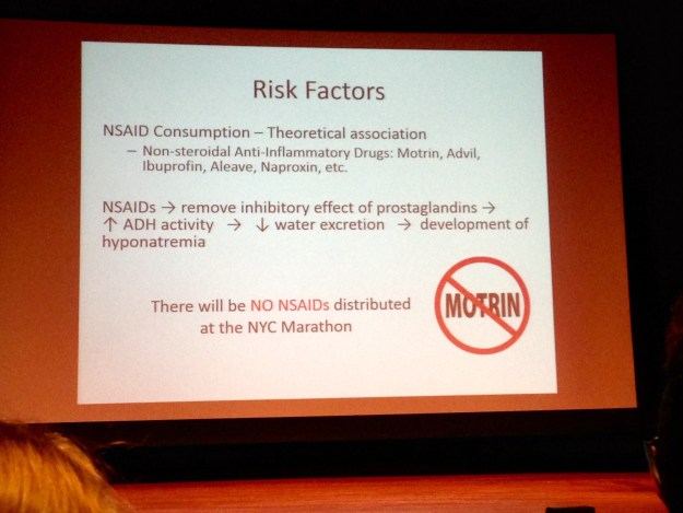 Slide from the NYC Marathon Medical Orientation - information that was obviously lacking in Philadelphia.