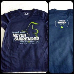 Front and back of the Marathon shirt (short sleeved, tech fabric).