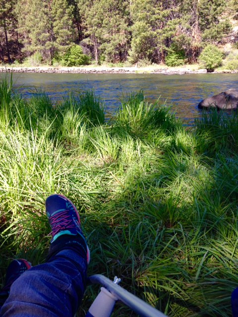 Elevating my ankle next to the Deschutes River in Bend, Oregon.