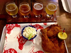Hot chicken with a local beer flight.