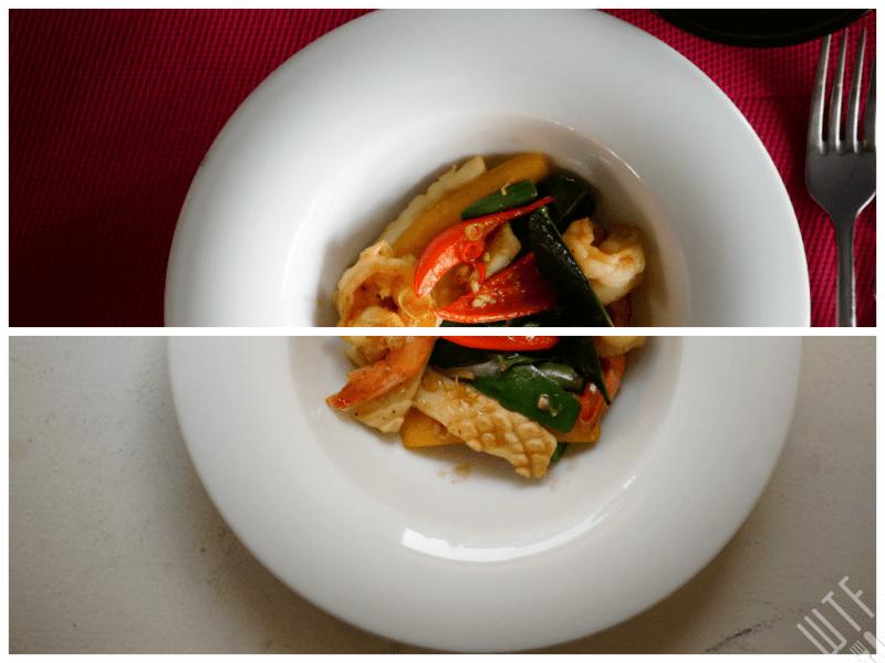 Krewetki i kalmary z woka z liściem limanowca, chilli i bazylią - Papaya
