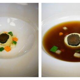 Consommé z ogonów wołowych, royale z foie gras i trufla