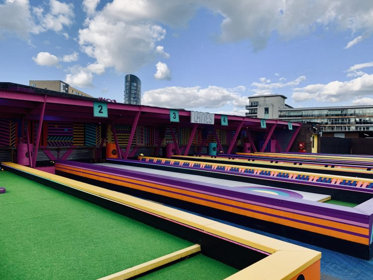 Roof East rooftop bar Strafford London bowling alley