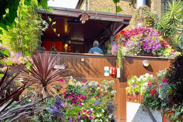 Flowery pub garden