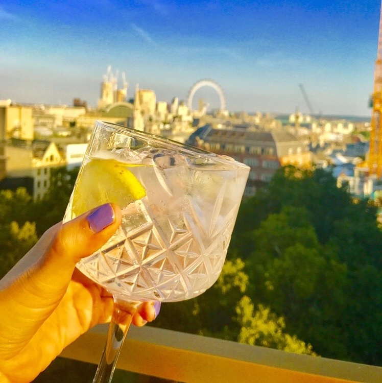 Glass of gin with slice of lemon in it at sunset being held with a hand with purple nail varnish