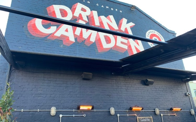Drink Camden  sign at the diner rooftop pub