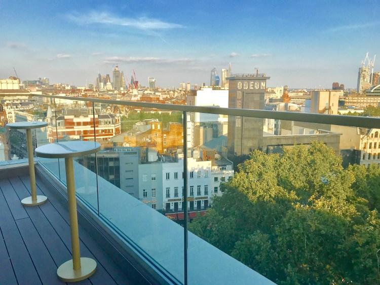 Rooftop at Indigo Hotel LSQ views over london