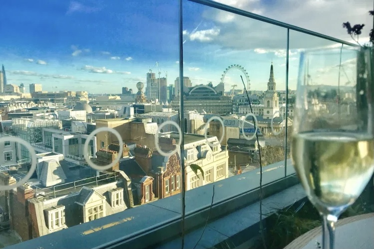 Blue skies and views over london and the london eye