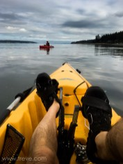 Pedal power kayaking with Arlen in the red boat.