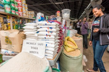Sophie showing us the market in Moshi