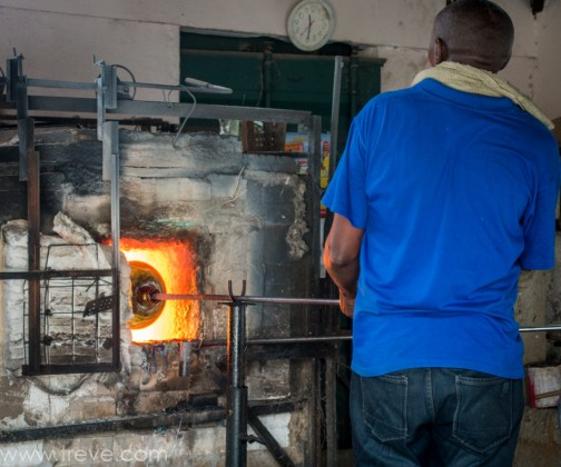 Glass blowing at Shanga.