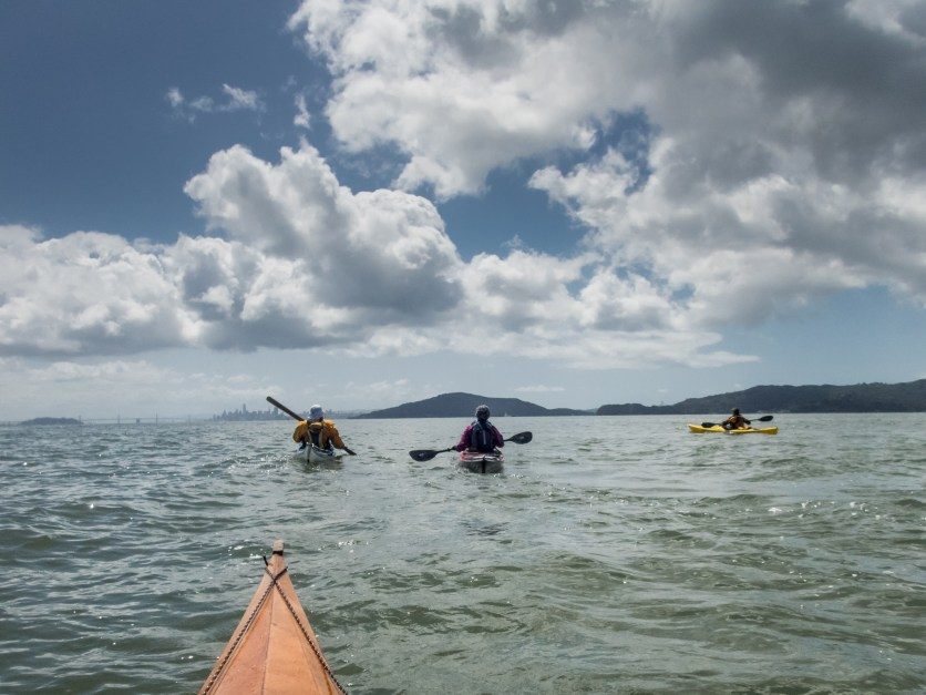 Return trip with Angel Island and San Francisco in the distance. BASK Thursday Paddle on April 12, 2018
