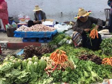 Berber women selling vegetables in Tangier's old city
