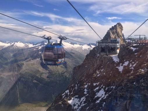 The Gletscherbus 3 funitel lift near the top of Hintertux at 3250 meters above sea level
