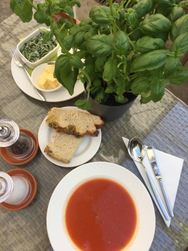 Tomato soup and pick-your-own basil